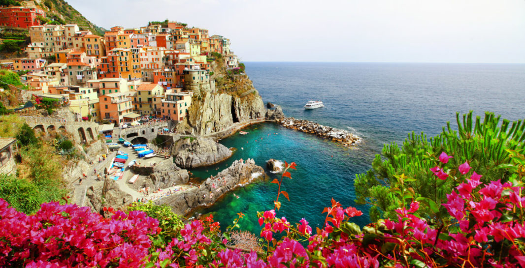 Manarola seafront from the hiking trail